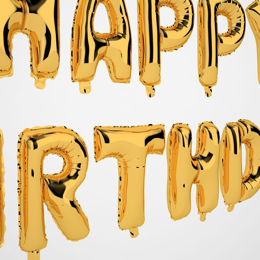 Foil Balloon Gold Words Happy Birthday royalty-free 3d model - Preview no. 19