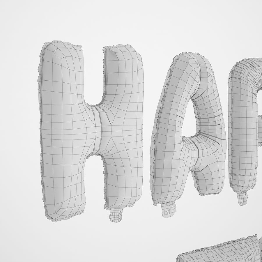 Foil Balloon Gold Words Happy Birthday royalty-free 3d model - Preview no. 30