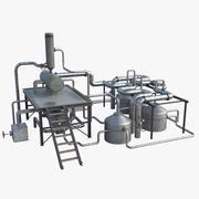 Raffinerie, scène, haute définition 3d model