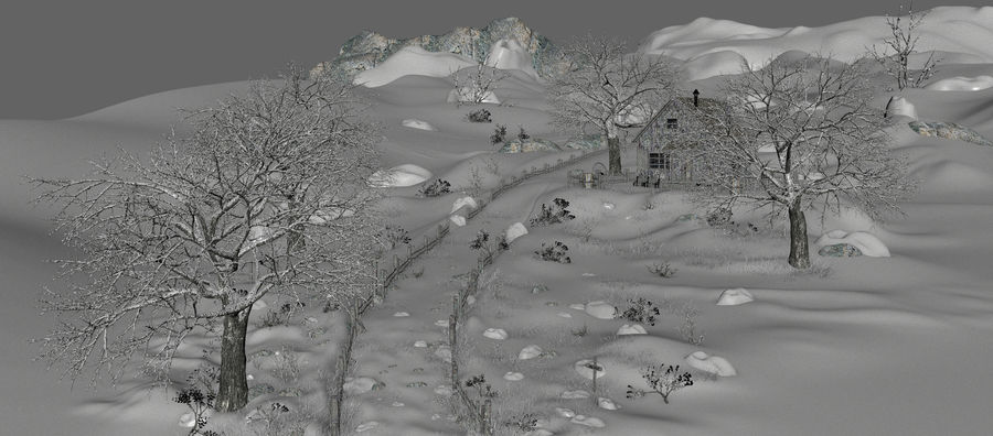 Snow House Environment royalty-free 3d model - Preview no. 11