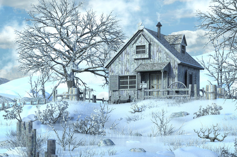 Snow House Environment royalty-free 3d model - Preview no. 3