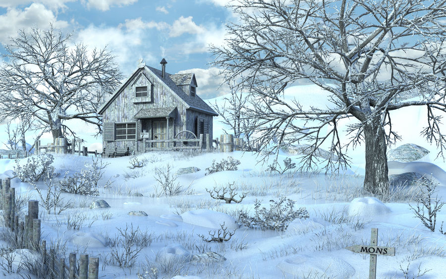Snow House Environment royalty-free 3d model - Preview no. 6