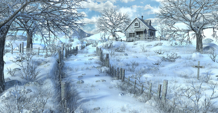 Snow House Environment royalty-free 3d model - Preview no. 1