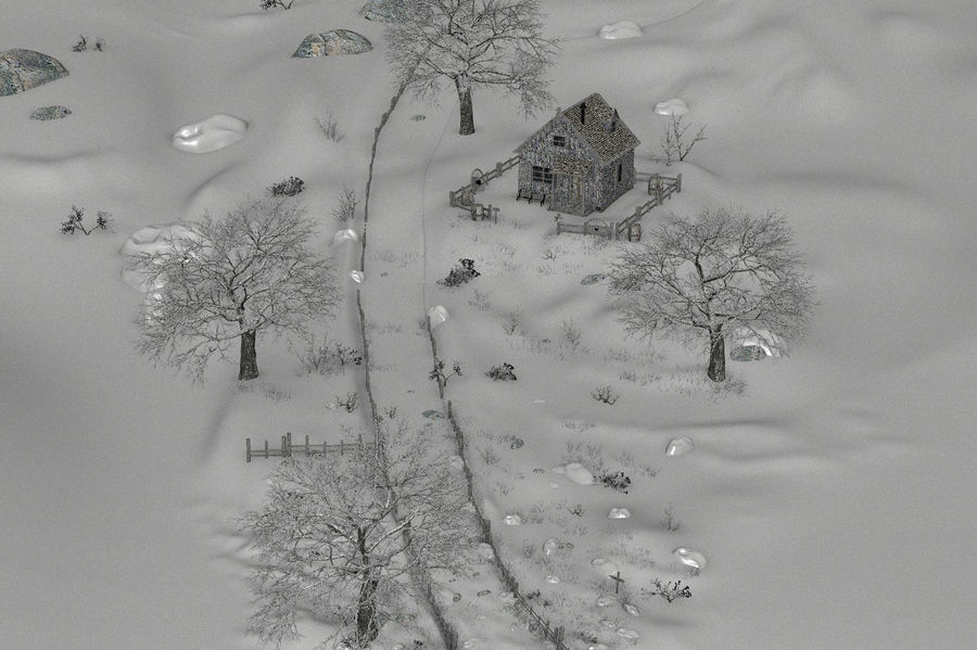 Snow House Environment royalty-free 3d model - Preview no. 19