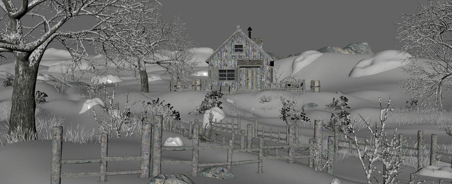 Snow House Environment royalty-free 3d model - Preview no. 17