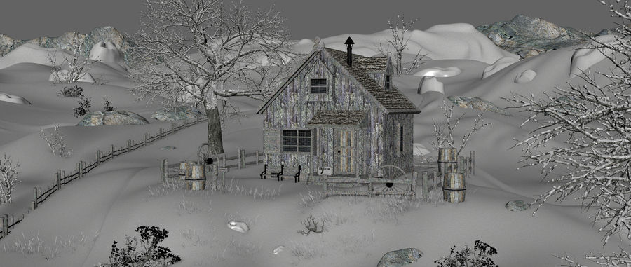 Snow House Environment royalty-free 3d model - Preview no. 13