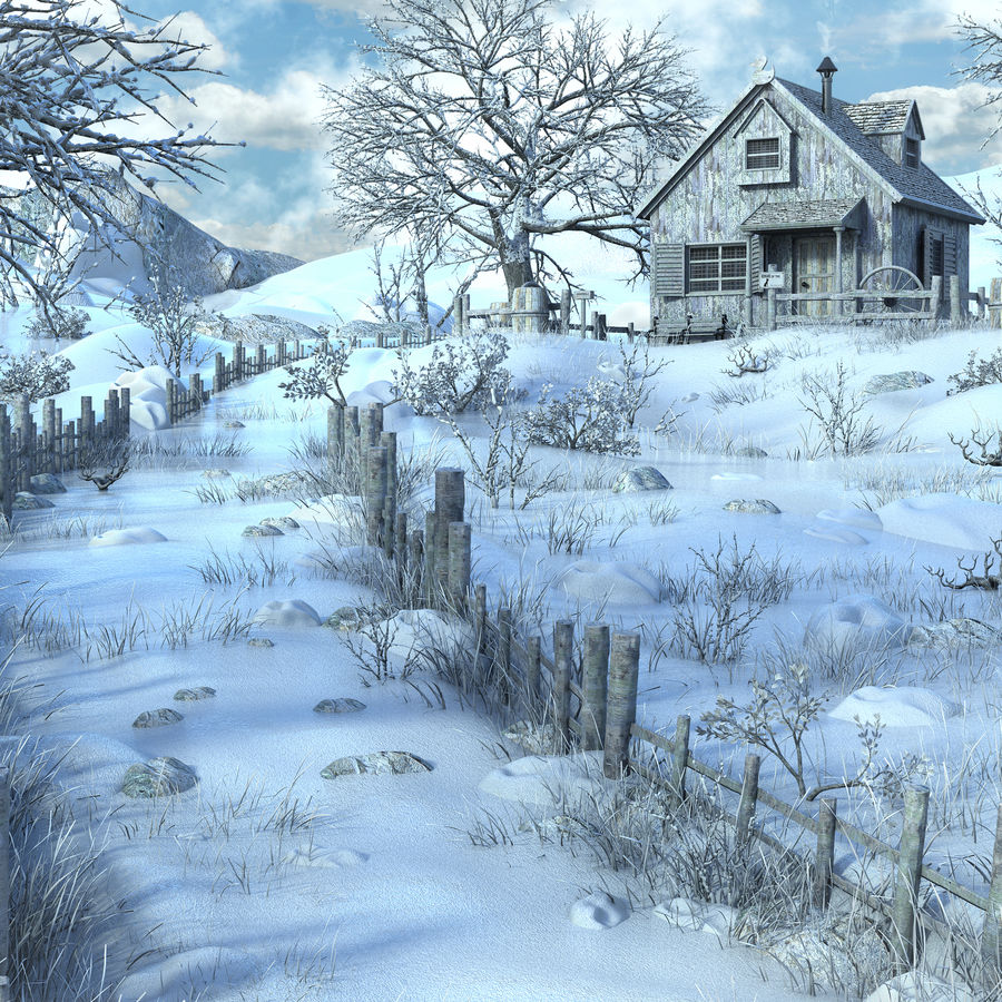 Snow House Environment royalty-free 3d model - Preview no. 10