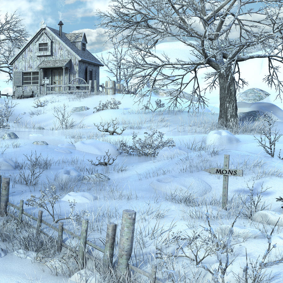 Snow House Environment royalty-free 3d model - Preview no. 9