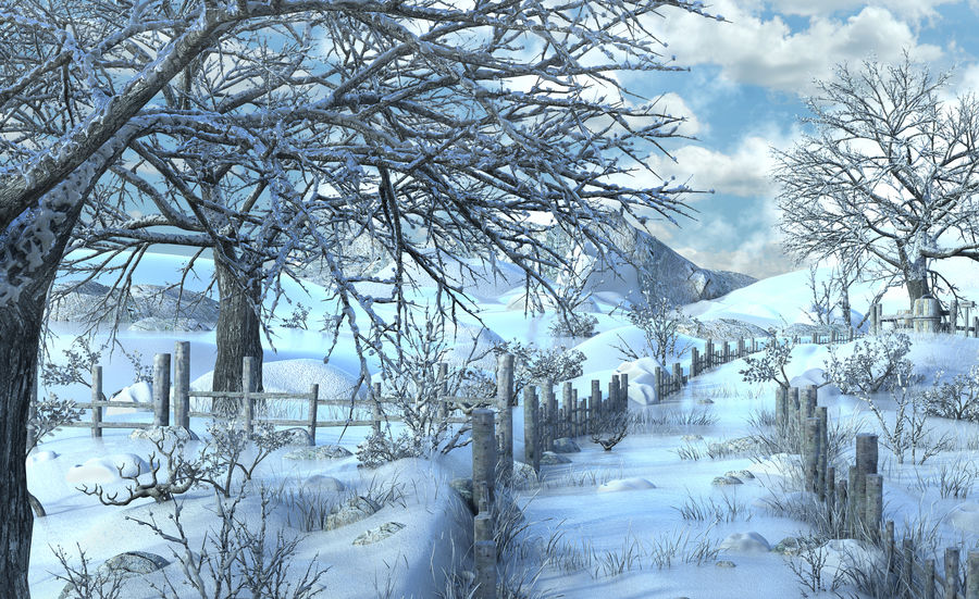 Snow House Environment royalty-free 3d model - Preview no. 7