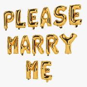 Folienballon-Goldwörter heiraten mich bitte 3d model
