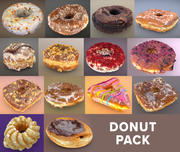 Doughnut Donut Pack loPoly and high 3d model