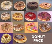 Donut Donut Pack LoPoly i wysoki 3d model