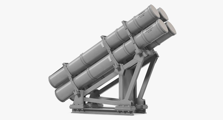 MK 141 Missile Launching System RGM 84 Harpoon SSM Navy 3D Model royalty-free 3d model - Preview no. 2