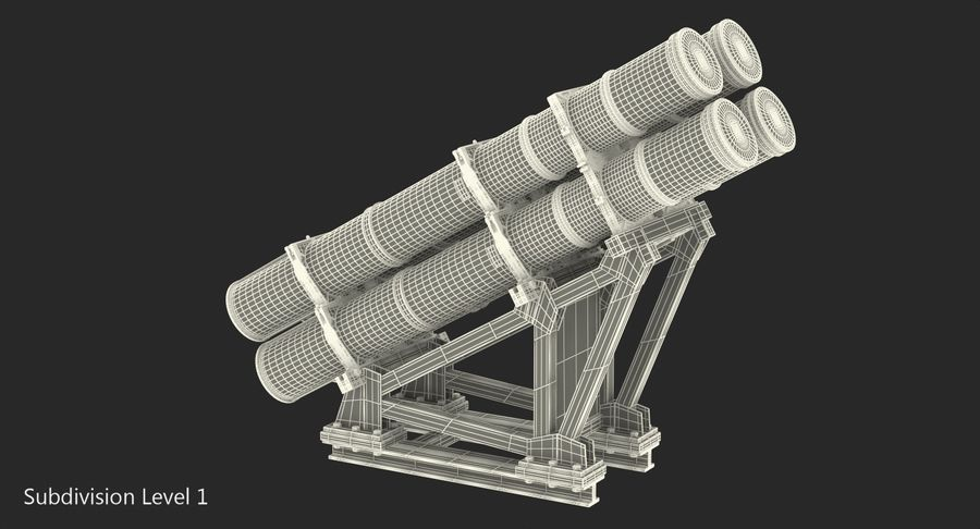 MK 141 Missile Launching System RGM 84 Harpoon SSM Navy 3D Model royalty-free 3d model - Preview no. 13
