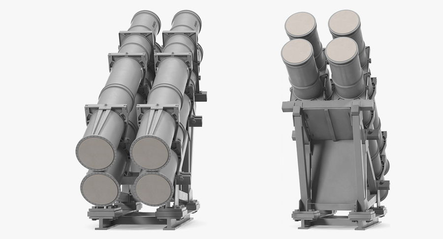 MK 141 Missile Launching System RGM 84 Harpoon SSM Navy 3D Model royalty-free 3d model - Preview no. 4