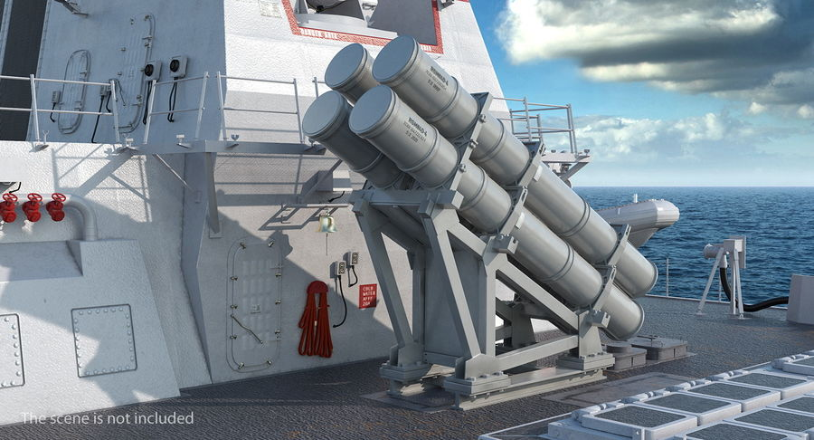 MK 141 Missile Launching System RGM 84 Harpoon SSM Navy 3D Model royalty-free 3d model - Preview no. 3
