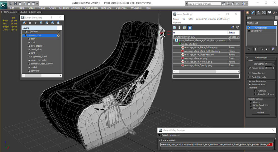 Synca Wellness Massage Chair Black royalty-free 3d model - Preview no. 18