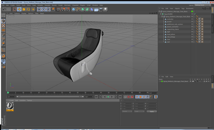 Synca Wellness Massage Chair Black royalty-free 3d model - Preview no. 17