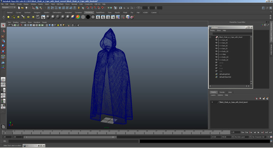 Cape Noire ou Cape à Capuche royalty-free 3d model - Preview no. 12