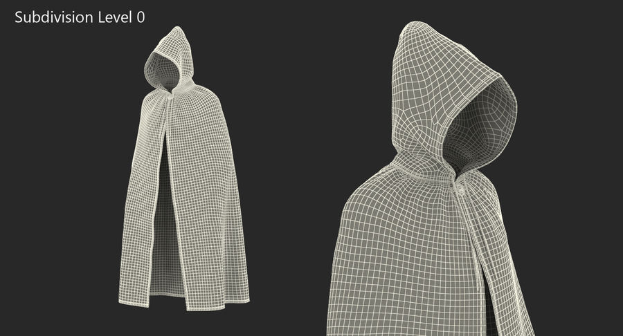 Cape Noire ou Cape à Capuche royalty-free 3d model - Preview no. 8