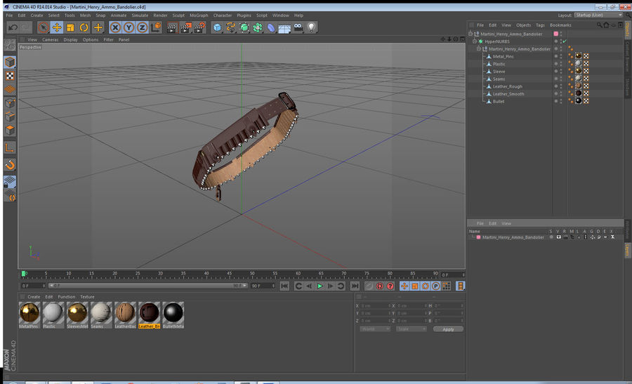 Martini Henry Ammo Bandolier royalty-free 3d model - Preview no. 18