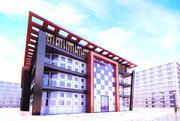 モダンな外観の建物 3d model