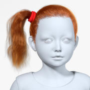 Realistic Redhead Ponytail Hairstyle Wig 3d model