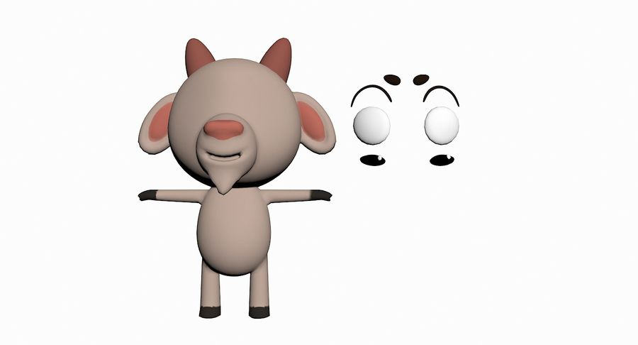 Cartoon Animal Character Pack royalty-free 3d model - Preview no. 50