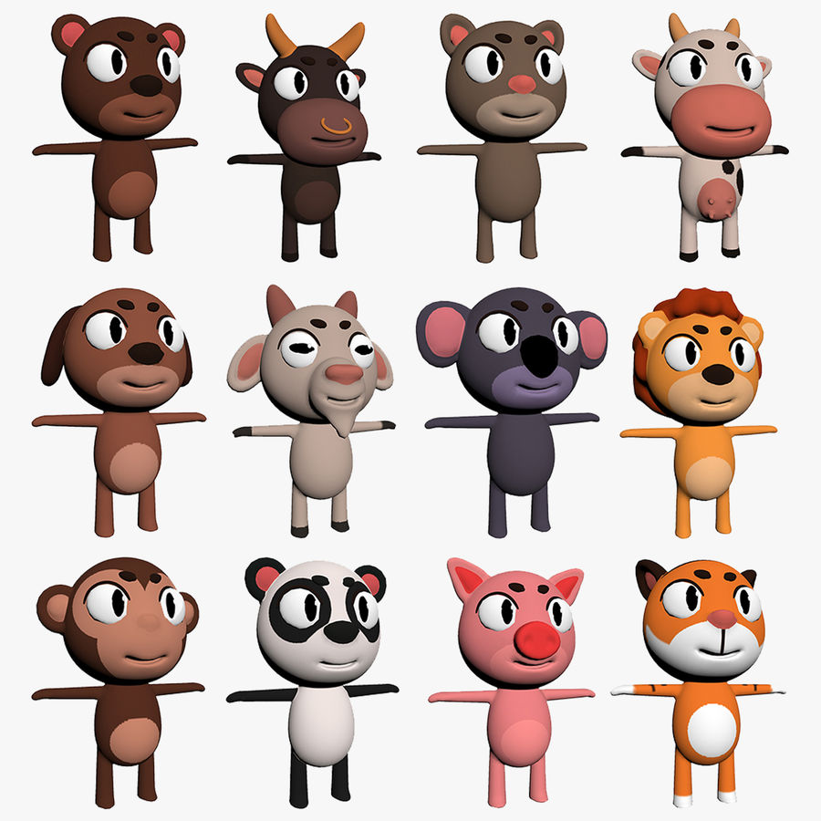 Cartoon Animal Character Pack royalty-free 3d model - Preview no. 1