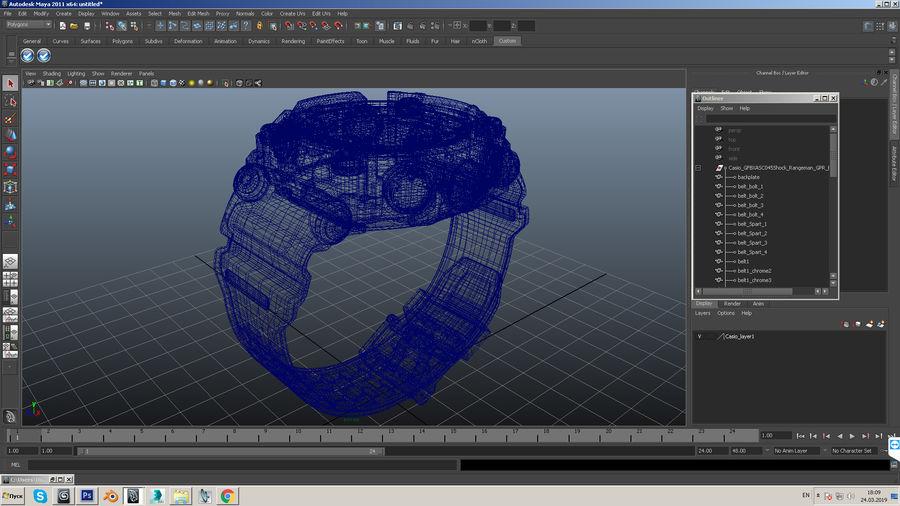 Водонепроницаемый Спорт Военные Часы Ударопрочный royalty-free 3d model - Preview no. 19