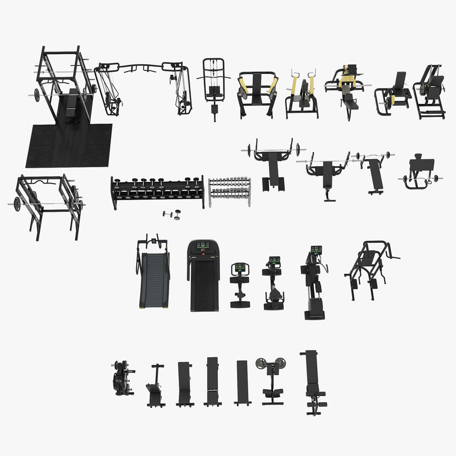 Gym Equipment royalty-free 3d model - Preview no. 25