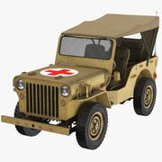 救急車軍ウィリスジープ 3d model