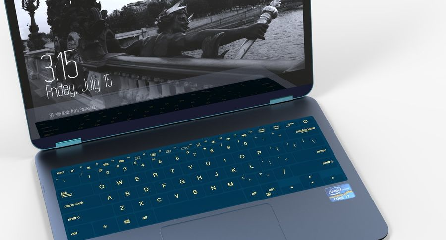Computer Laptop (Open) royalty-free 3d model - Preview no. 5