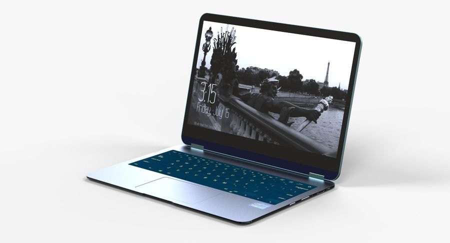 Computer Laptop (Open) royalty-free 3d model - Preview no. 2