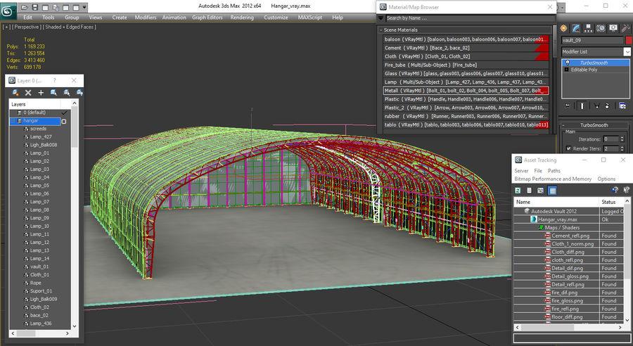 Hangar pour avions royalty-free 3d model - Preview no. 22