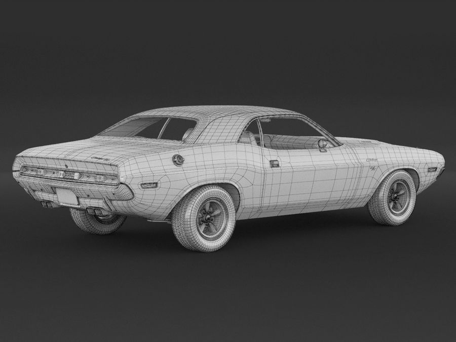 Dodge Challenger rt 1970 royalty-free 3d model - Preview no. 9