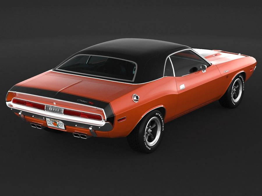 Dodge Challenger rt 1970 royalty-free 3d model - Preview no. 7