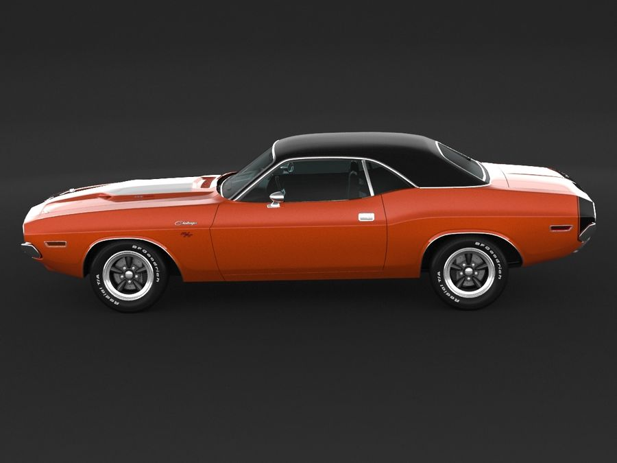 Dodge Challenger rt 1970 royalty-free 3d model - Preview no. 5