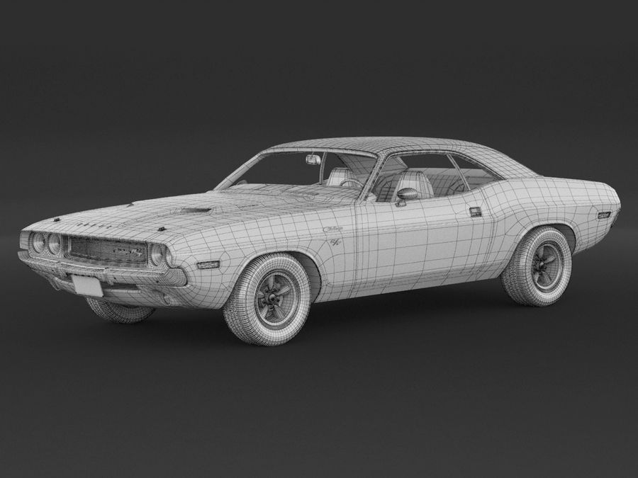 Dodge Challenger rt 1970 royalty-free 3d model - Preview no. 8