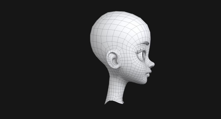 漫画の頭 royalty-free 3d model - Preview no. 13