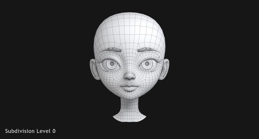 漫画の頭 royalty-free 3d model - Preview no. 11