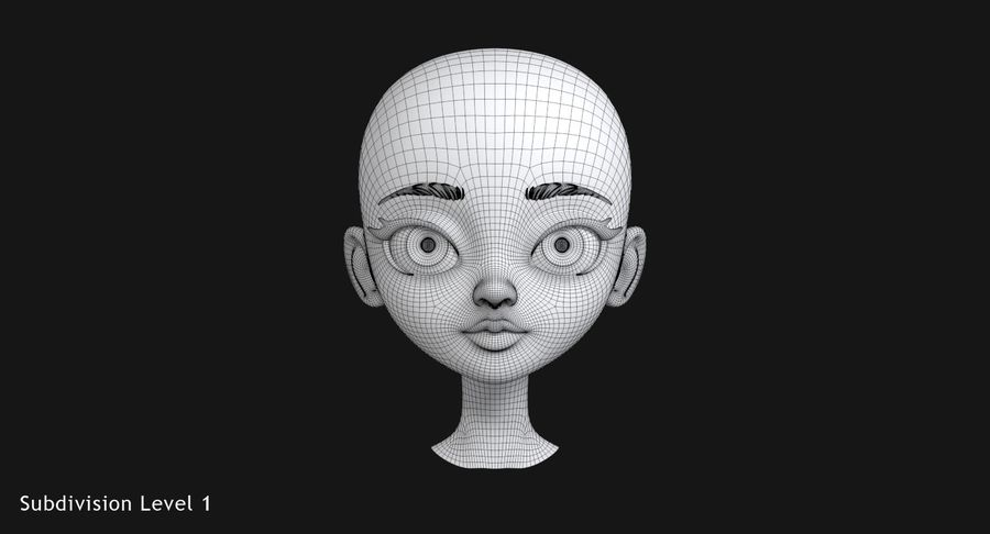 漫画の頭 royalty-free 3d model - Preview no. 12
