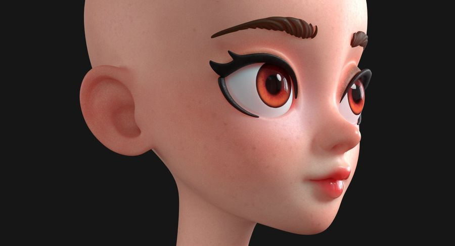 漫画の頭 royalty-free 3d model - Preview no. 6