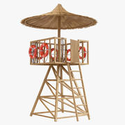 Lifeguard tower post bamboo 3d model