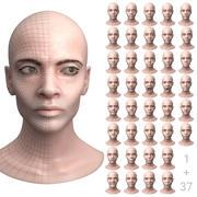 Testa femminile con 37 espressioni facciali 3d model
