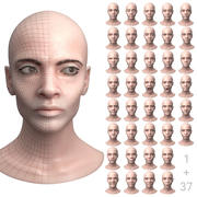 Female Head with 37 Facial Expressions 3d model