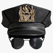 Cappellino della polizia e occhiali da sole 3d model