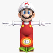 Super Mario Bros Fire Flower Character 3d model