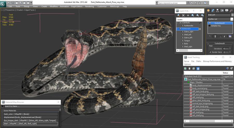 Dark Rattlesnake Attack Pose Modèle 3D royalty-free 3d model - Preview no. 23