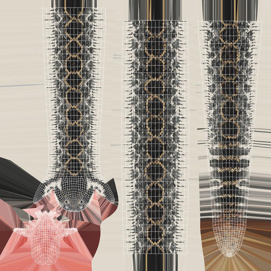 Dark Rattlesnake Attack Pose Modèle 3D royalty-free 3d model - Preview no. 19